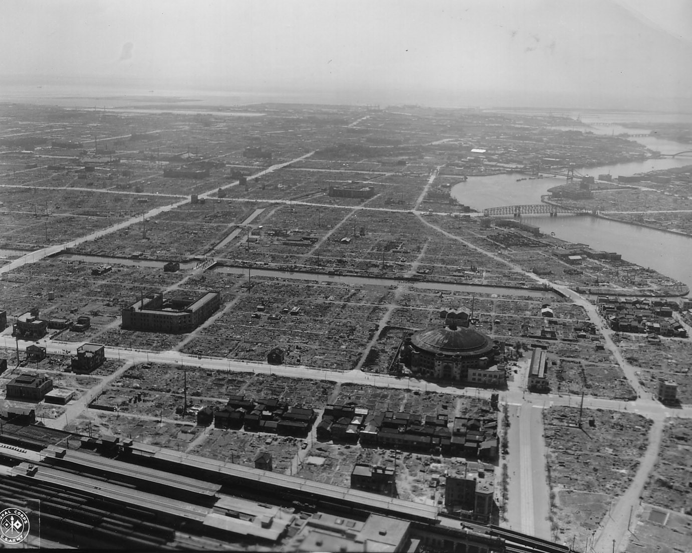 Entire city blocks in Tokyo were wiped out by American bombing campaigns during World War II.