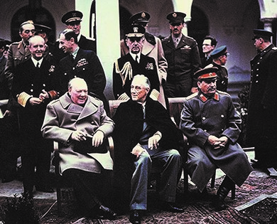 Prime Minister Winston Churchill, President Franklin Roosevelt, and Premier Joseph Stalin met at Yalta in February of 1945 to discuss plans for defeating Nazi Germany.