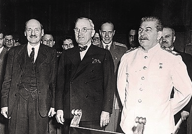 At the postwar conference in Potsdam, Germany, Harry Truman stands between Joseph Stalin (right) and Clement Atlee (left). Atlee had replaced Winston Churchill as Prime Minister of Great Britain.