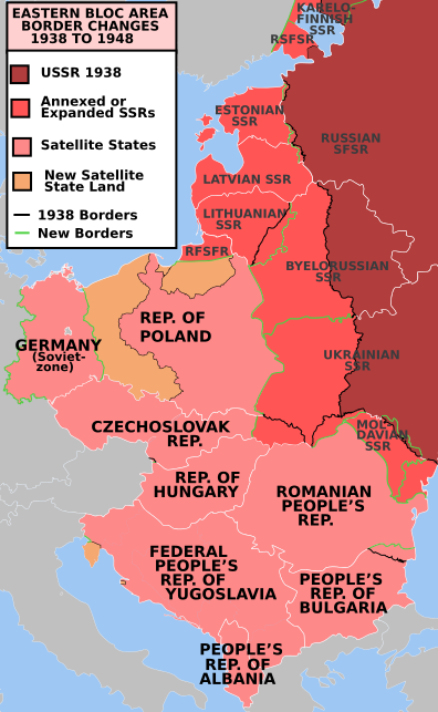Map of the Soviet Union and the eastern European nations — known as the Eastern Bloc — that fell under its influence during the Cold War.