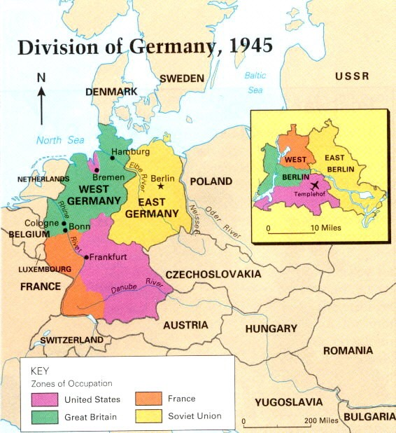 After World War II, leaders of the Allied powers divided Germany and the city of Berlin into zones of occupation.