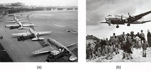 American C-47 transport planes (a) are loaded with supplies at a French airport before taking off for Berlin. Residents of Berlin wait for a U.S. plane (b) carrying needed supplies to land at Templehof Airport in the American sector of the city.