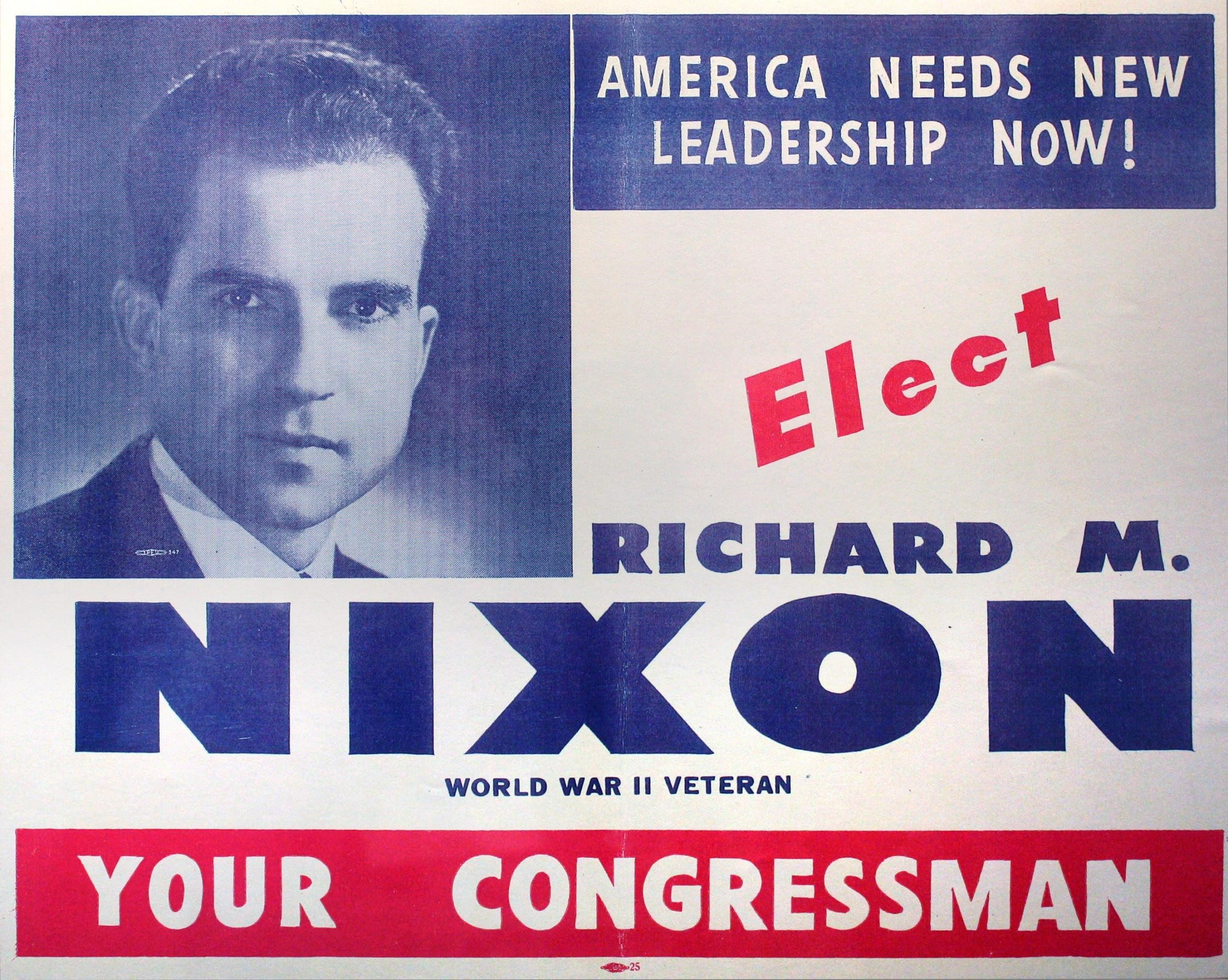 A campaign poster from Richard Nixon's congressional campaign in 1946.