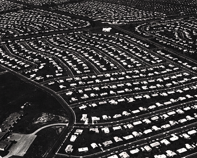 This aerial view of Levittown, Pennsylvania, shows acres of standardized homes. Roads were curved to prevent cars from speeding through the residential communities that were inhabited by many young families.