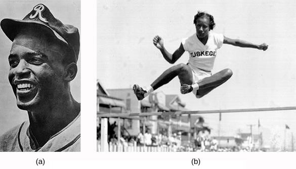 Baseball legend Jackie Robinson (a) was active in the civil rights movement. After his baseball career, he served on the NAACP's board of directors and helped to found an black-owned bank in Harlem. Alice Coachman (b), who competed in track and field at Tuskegee University, was the first black woman to win an Olympic gold medal.