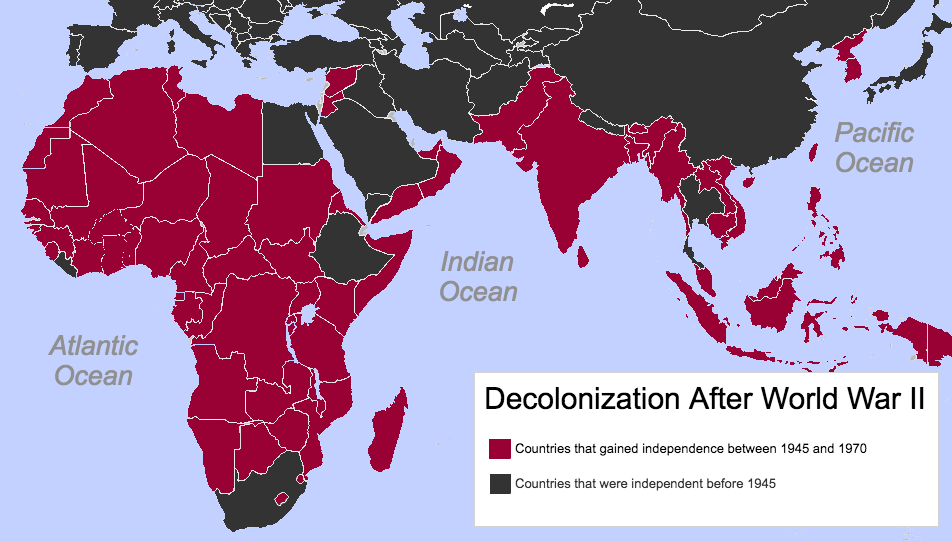 A map of Africa and Asia during decolonization.