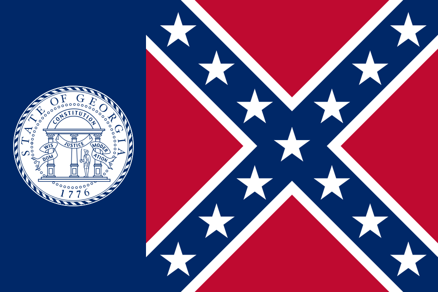 In 1956, Georgia adopted this state flag, which includes the Confederate battle flag. It remained the state flag of Georgia until 2001.