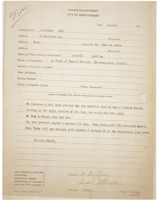 "The first page of Rosa Parks's arrest record on December 1, 1955, now housed in the National Archives. Police responded to the bus operator's complaint of a ""colored female sitting in the white section of the bus"". The second page of the report indicates that Parks was charged with"