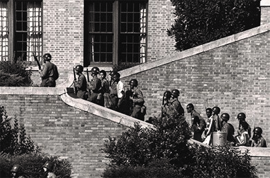 In 1957, U.S. soldiers from the 101st Airborne escorted the Little Rock Nine into Central High School in Little Rock, Arkansas.