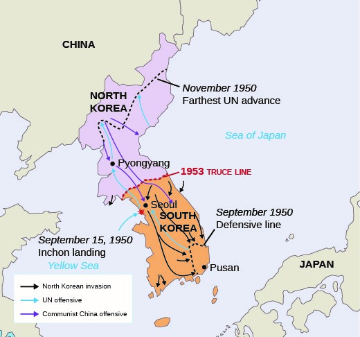 Territory changed hands quickly during the early stages of the Korean War. UN forces established a defensive line around Pusan in September of 1950. The Inchon landing reversed the tide of the war, and UN forces advanced to the Yalu River, where Chinese forces counterattacked.