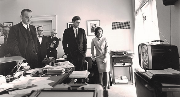 On May 5, 1961, Alan Shepard became the first American to travel into space. Millions across the country watched television coverage of his mission, including Vice President Johnson, President Kennedy, and Jacqueline Kennedy in the White House.