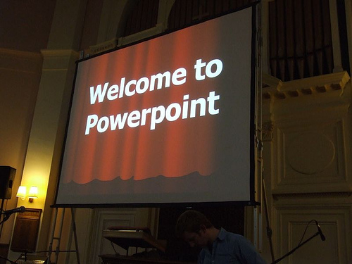 Using software, like PowerPoint, allows the speaker to create an engaging presentation.