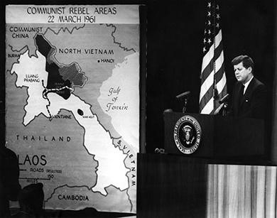 By the time President Kennedy took office, the United States had sent an enormous amount of money and thousands of military advisors to South Vietnam. In the photograph above, Kennedy participates in a press conference about the growing conflict in Vietnam.  (credit: Abbie Rowe)