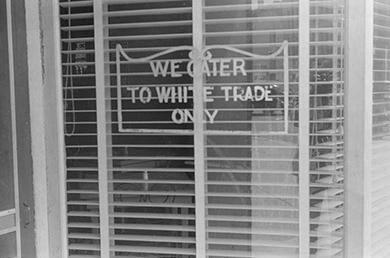 "Segregated businesses, such as the Ohio business above that catered ""to white trade only"", were targeted for sit-ins during the early 1960s. (credit: Library of Congress)"
