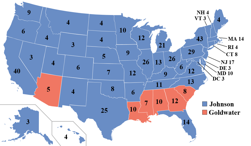 During the election of 1964, Johnson received over 43 million popular votes, compared to 27 million for Goldwater, and won the Electoral College 486-52. However, this map also illustrates an important political shift, as several southern states (that were once Democratic strongholds) voted Republican to express their opposition to the Civil Rights Act of 1964.