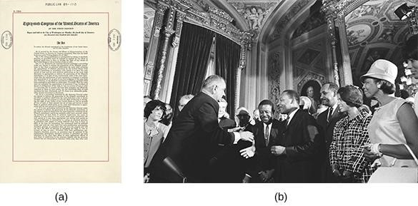 The Voting Rights Act (a) was signed into law on August 6, 1965, in the presence of major figures of the civil rights movement, including Rosa Parks and Martin Luther King, Jr. (b).