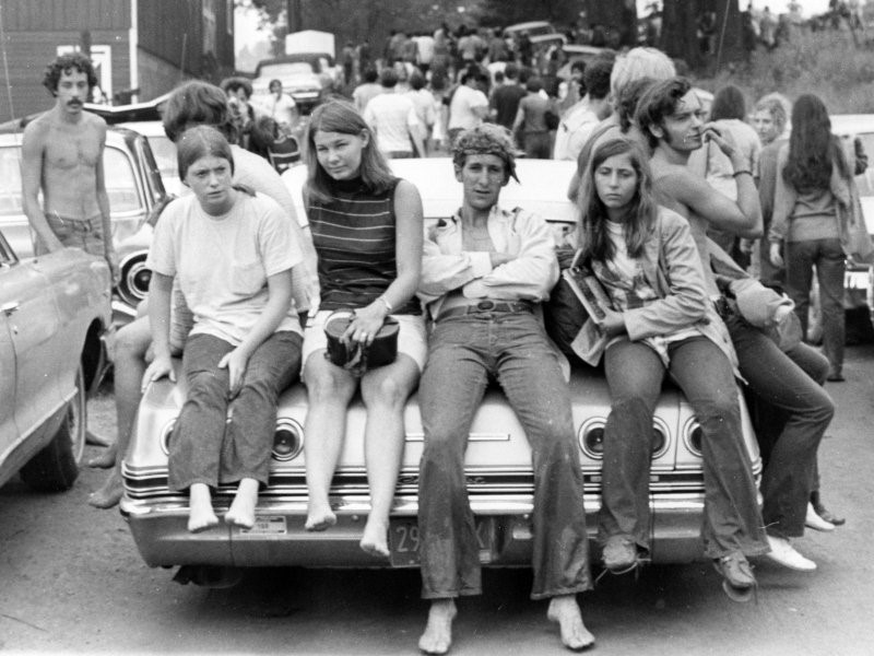 Photograph of American youth taken near the famous Woodstock music festival in August of 1969.