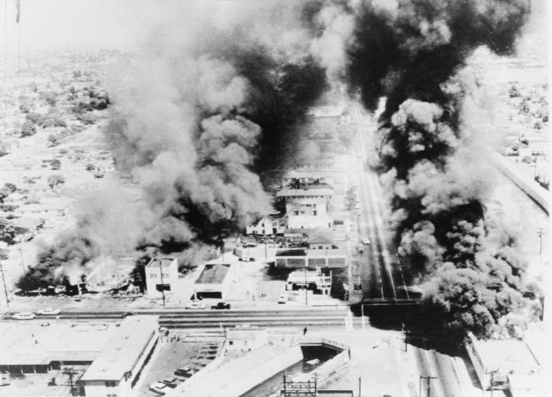 Buildings burn during the Watts riots of August 1965.
