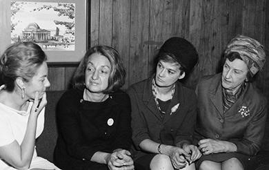 Early members of NOW discuss the problems faced by American women. Betty Friedan is second from the left. (credit: Smithsonian Institution Archives)