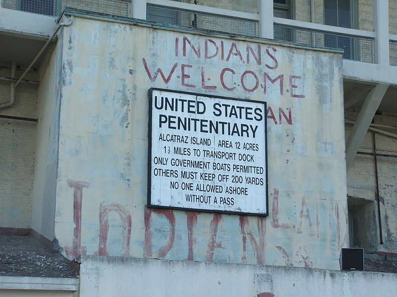 Evidence of the occupation of Alcatraz Island between 1969 and 1971 lingers, as shown in this 2006 photograph.