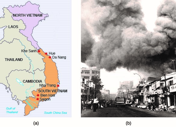 During the Tet Offensive, the North Vietnamese Army and the Viet Cong attacked South Vietnamese and U.S. targets throughout Vietnam (a), with Saigon as the focus (b). (credit a: modification of work by Central Intelligence Agency)
