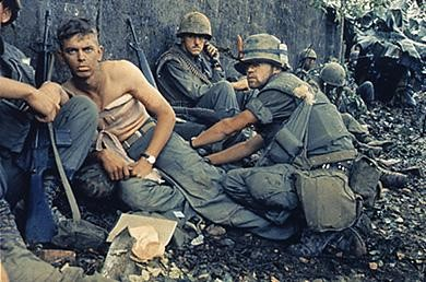 American soldiers in Hue in 1968, during the Tet Offensive. The frustrating experience of fighting a seemingly unwinnable war left many soldiers, and the general public, disillusioned with the government.