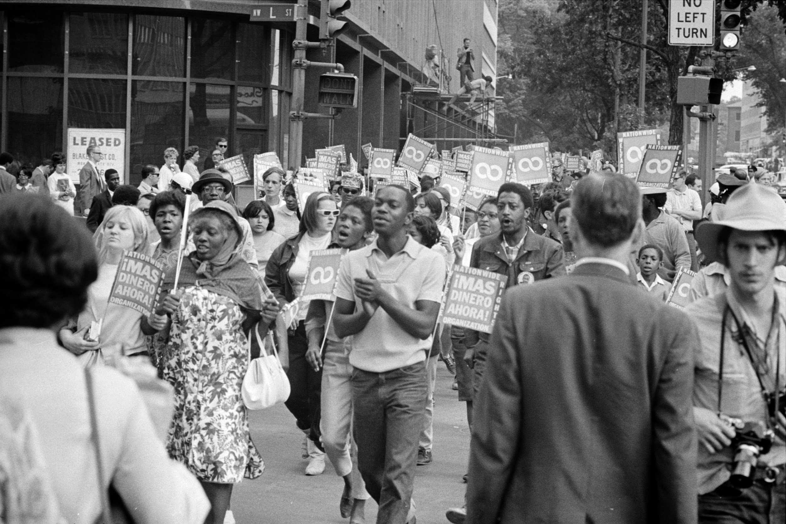 Many participants in the Poor People's March occupied the National Mall in Washington, D.C., for several weeks during the spring of 1968. In the photograph above, protestors march along Connecticut Avenue in June, 1968.