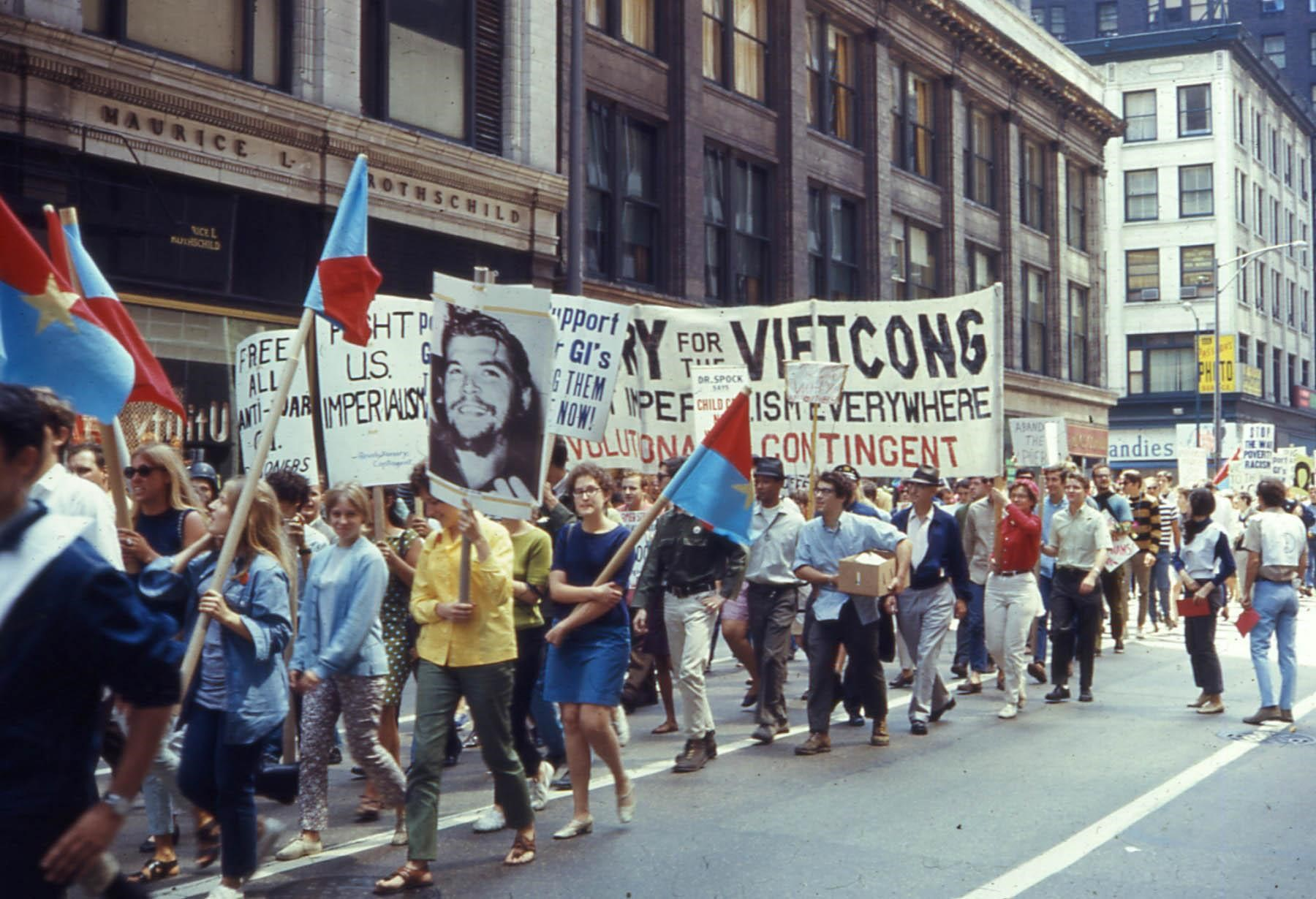 Antiwar demonstrators march in Chicago during the Democratic National Convention in August, 1968.