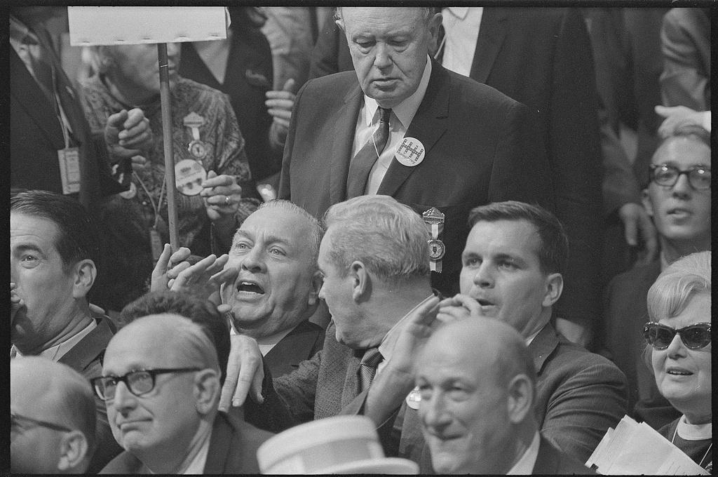 Mayor Daley and Illinois delegates react to Senator Ribicoff's speech.