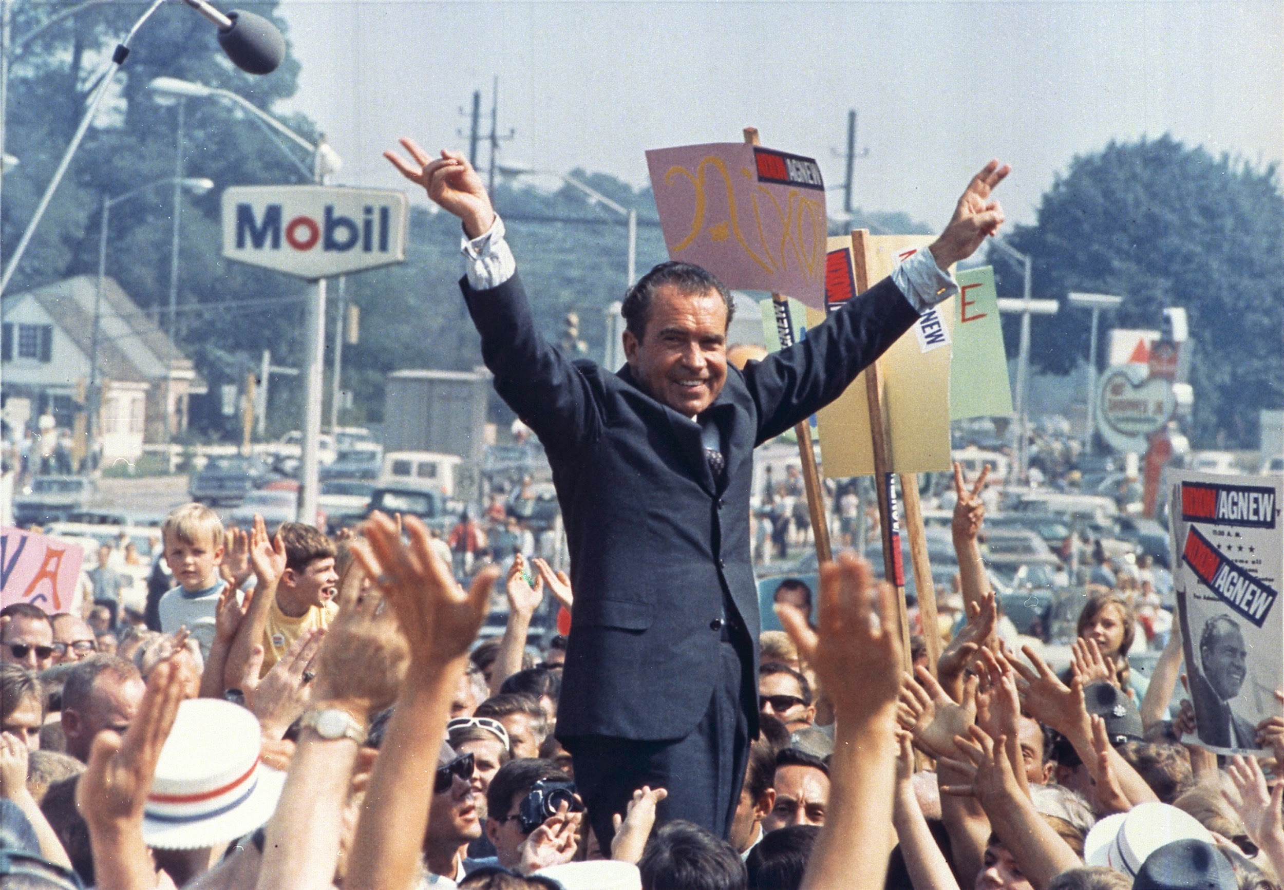 Richard Nixon at a campaign rally during the summer of 1968.