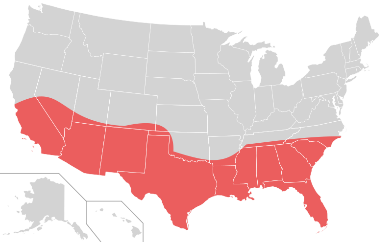 The Sun Belt stretches from California to Texas to Florida.