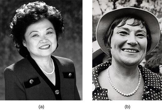 """Patsy Mink (a), a Japanese American from Hawaii, was the first Asian American woman elected to the House of Representatives. During her successful 1970 congressional campaign, Bella Abzug of New York (b) declared, """"This woman's place is in the House... the House of Representatives!"""""""