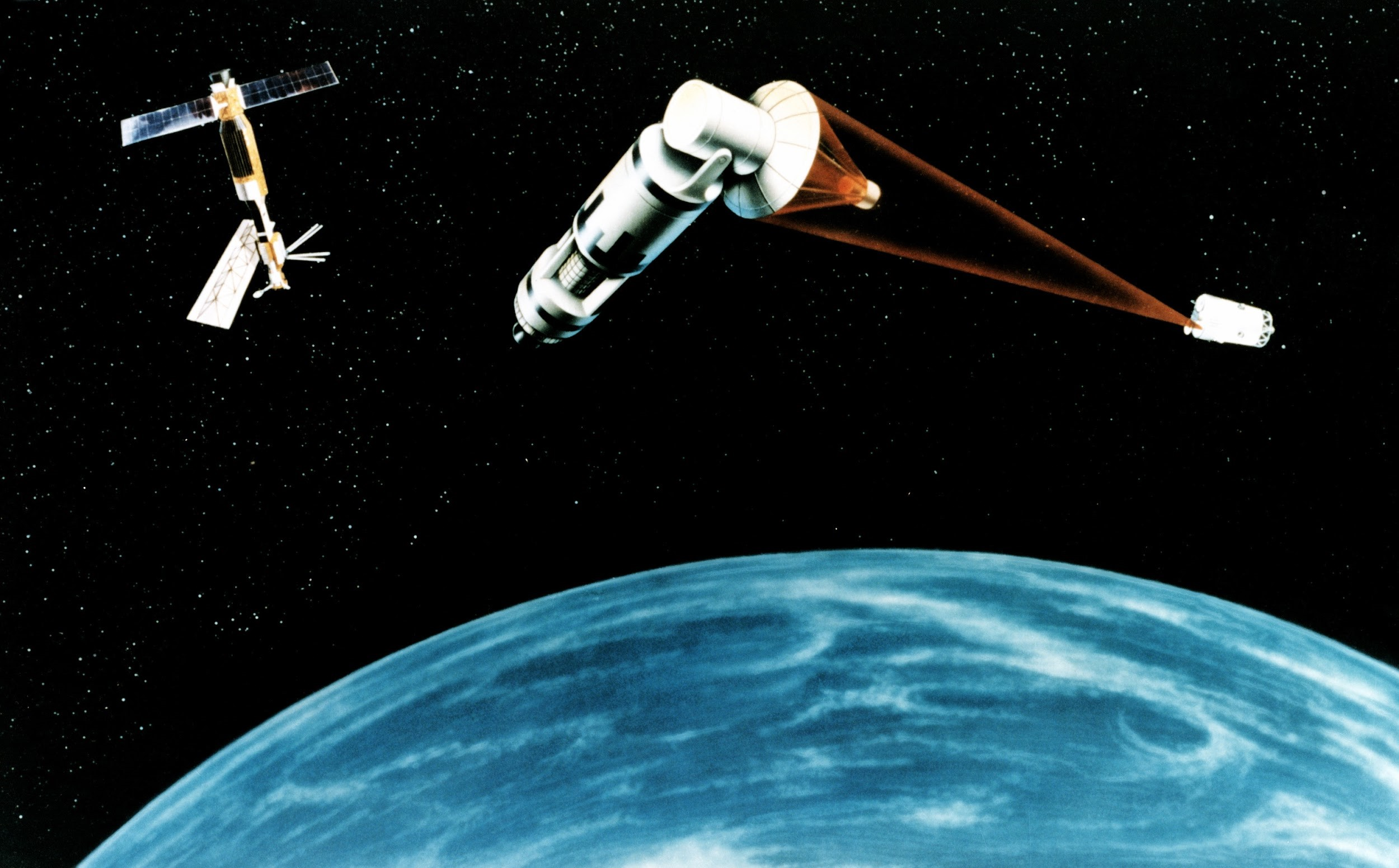 "An artist's rendering of the Strategic Defense Initiative. Referred to as ""Star Wars"" by skeptics, SDI proposed equipping satellites with lasers and constructing other space-based defenses to prevent Soviet missiles from striking the United States."