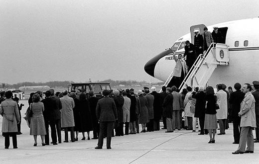 American hostages return from Iran in January, 1981.