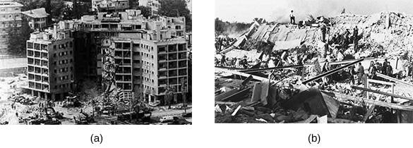 The suicide bombing of the U.S. Embassy in Beirut (a) on April 18, 1983, was the first of a number of attacks on U.S. targets in the Middle East. Less than six months later, a truck bomb leveled the U.S. Marine barracks at the Beirut airport (b), part of a coordinated attack that killed almost 300 U.S and French members of the multinational peacekeeping force in Lebanon.