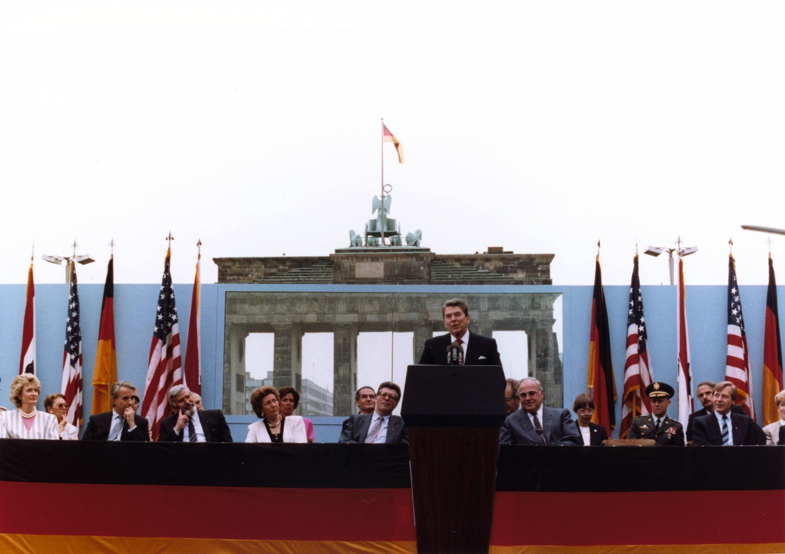 Ronald Reagan spoke in front of the Brandenburg Gate and the Berlin Wall on June 12, 1987.