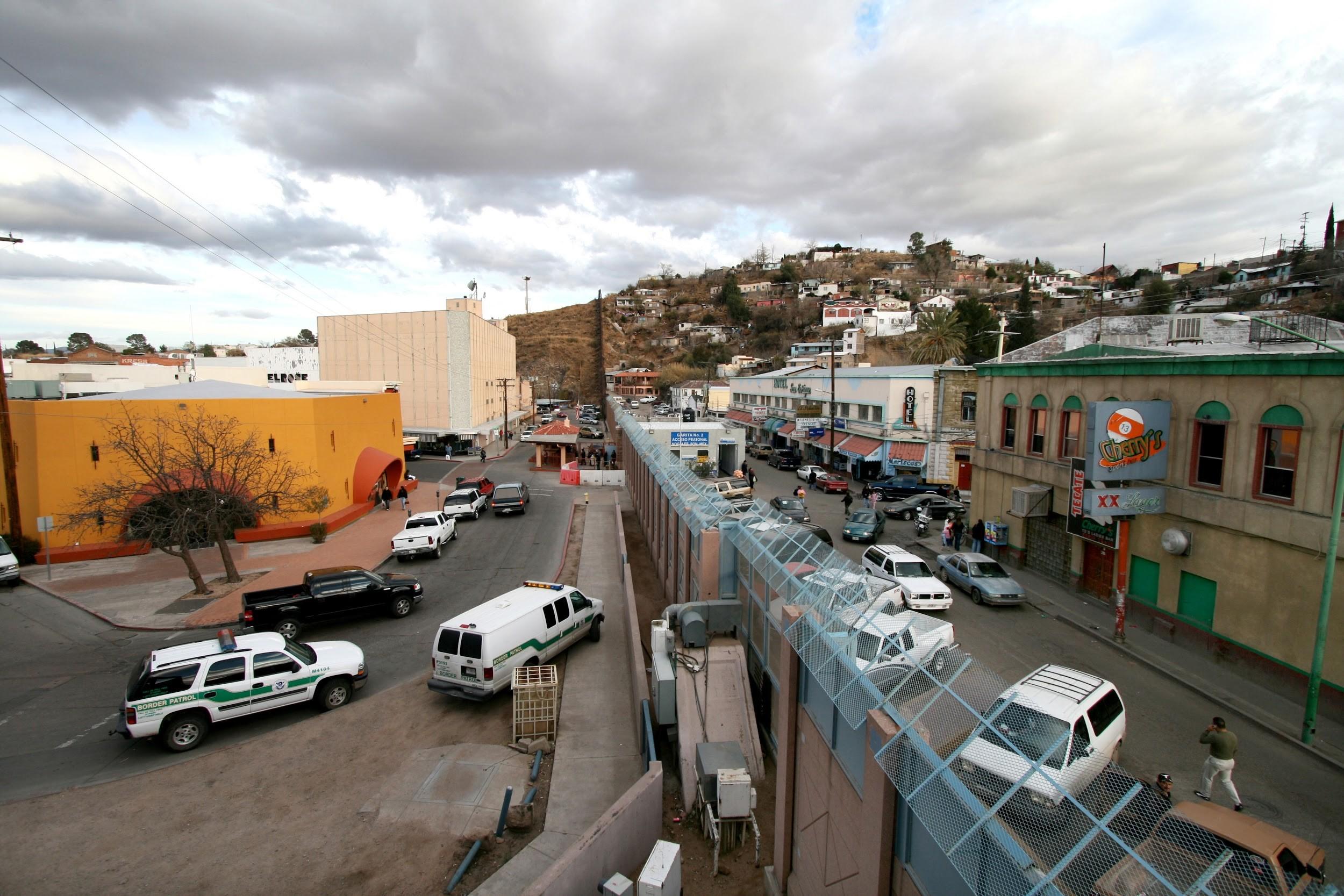 The U.S.-Mexico border between Nogales, Arizona, (left) and Nogales, Sonora (right).