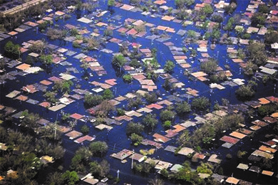 Large portions of New Orleans were flooded by Hurricane Katrina. Although most of the population evacuated, many of the poorest residents did not.