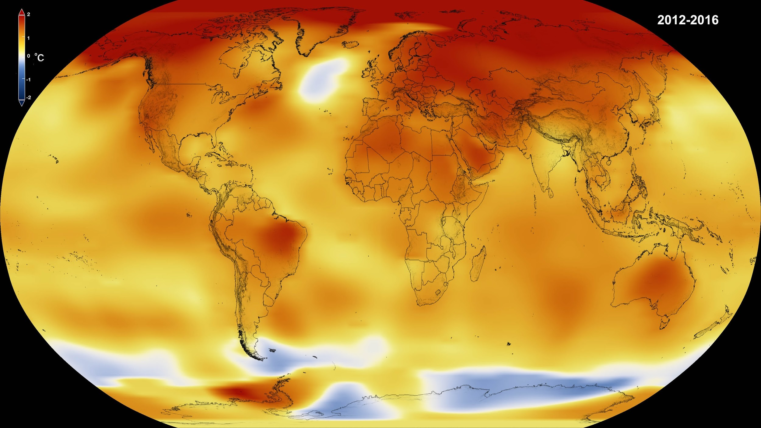 An image from NASA and NOAA's 2017 report, showing that the surface temperature in some parts of the world was almost two degrees (Fahrenheit) above average.  Source: Nasa.gov