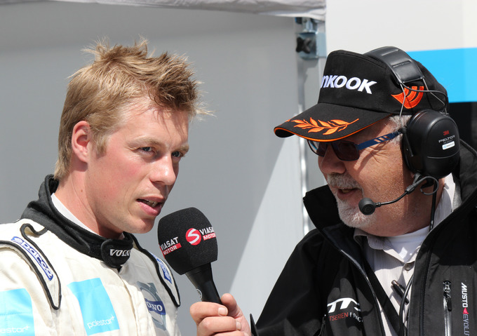 InterviewLars G Nilsson interviews Thed Björk for Viasat Motor at Anderstorp Raceway in 2012.