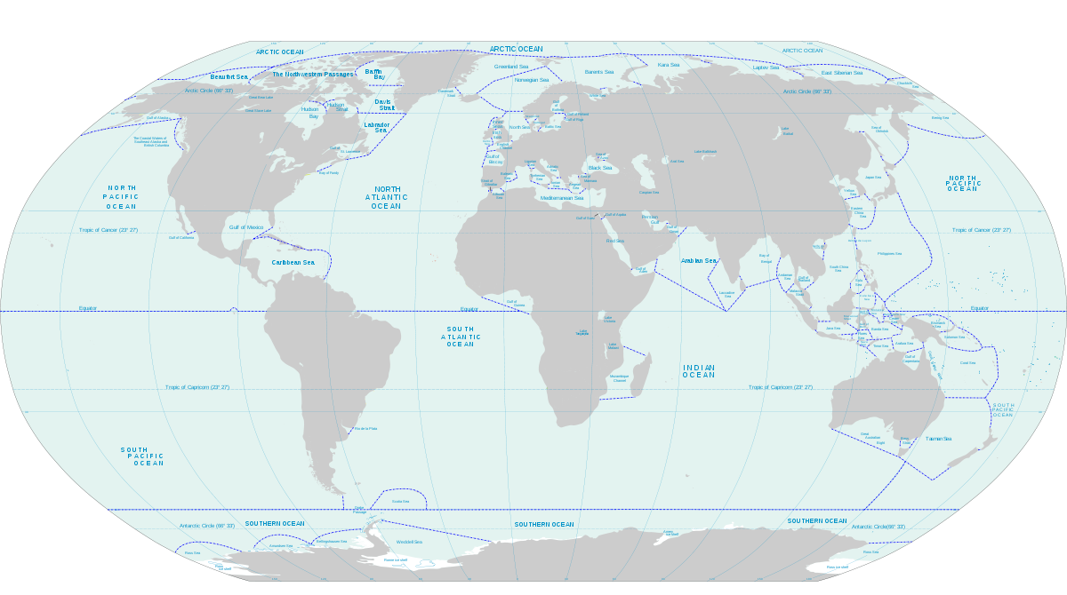 World Map of Oceans and Seas