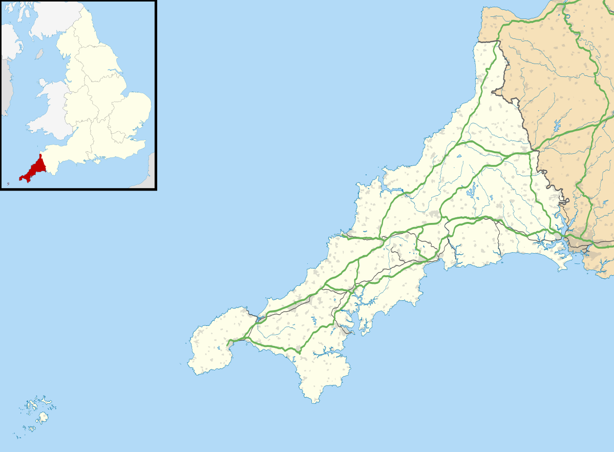 Map of Cornwall, England