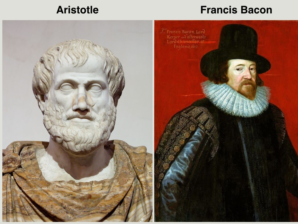 Images of Aristotle and Francis Bacon, key contributors to the foundations of science and to the modern scientific method.