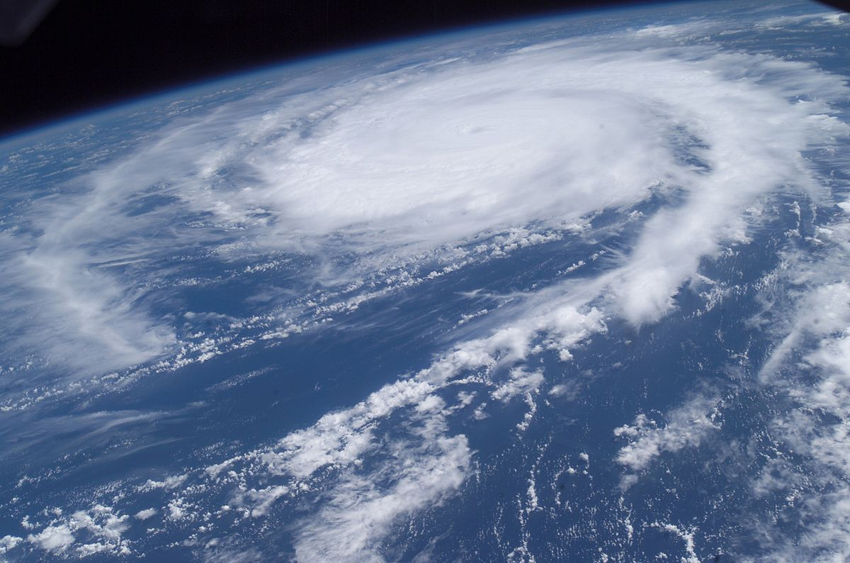 Photograph of a hurricane, taken from the International Space Station