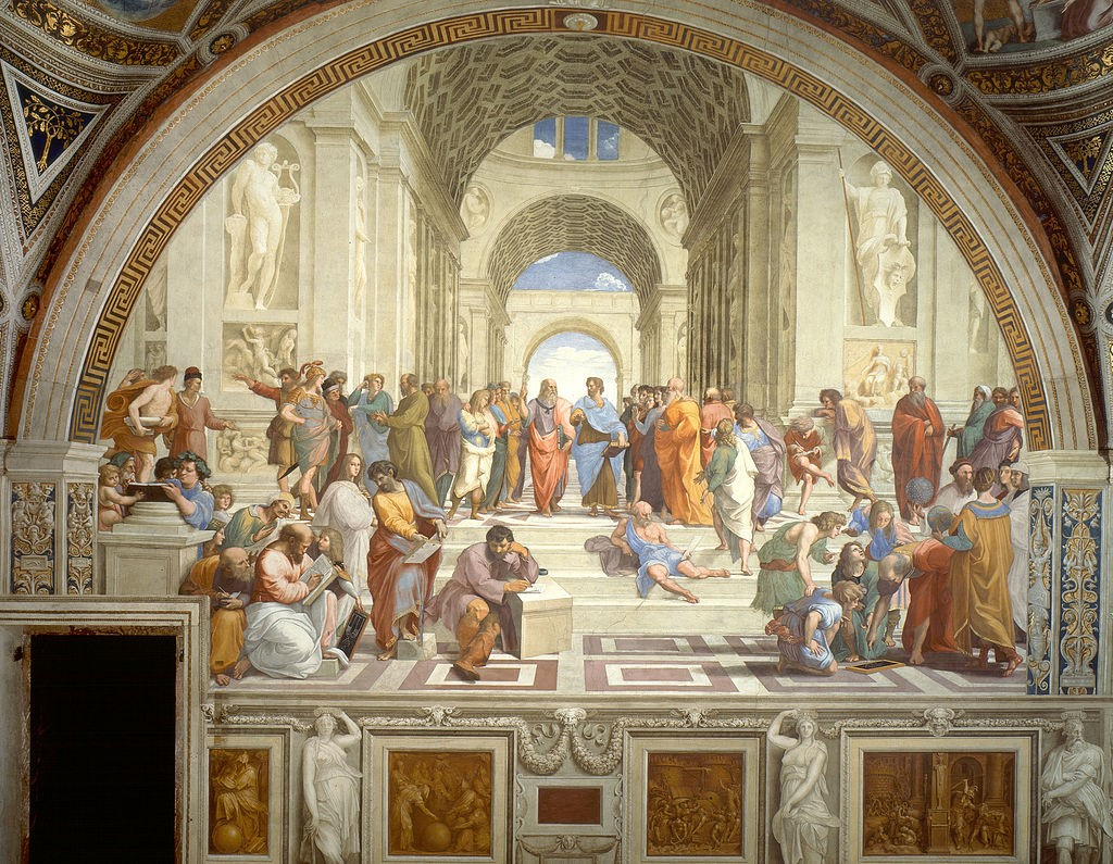 Raphael's <i>The School of Athens</i>, painted between 1509 and 1511. The fresco painting resides in the Apostolic Palace, Vatican City. It is a remarkable size, measuring approximately 16.5 feet across and 25 feet tall!