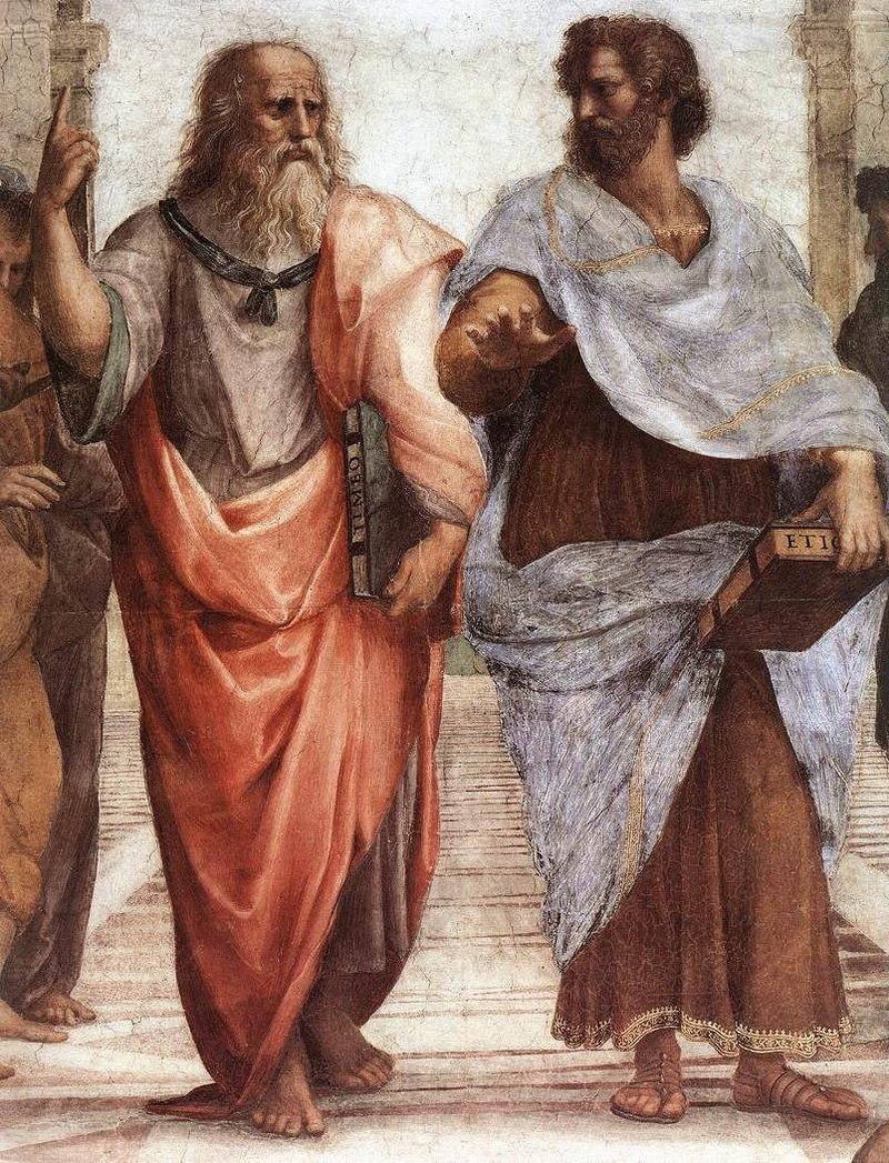 Close-up view of Plato and Aristotle in Raphael's <i>The School of Athens