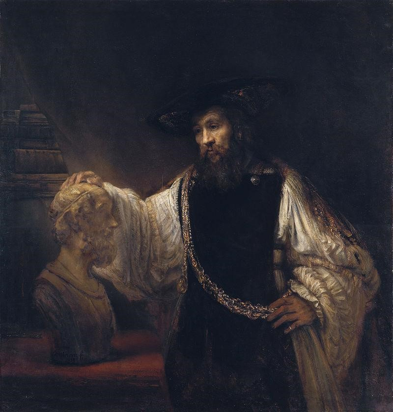 This painting, titled <i>Aristotle with a bust of Homer</i> also known as <i>Aristotle Contemplating a Bust of Homer,</i> was painted in 1653 by Rembrandt. Rembrandt painted it on a canvas with oil paints.