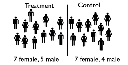 Roughly the same amount of females and males in the treatment group and the control group.