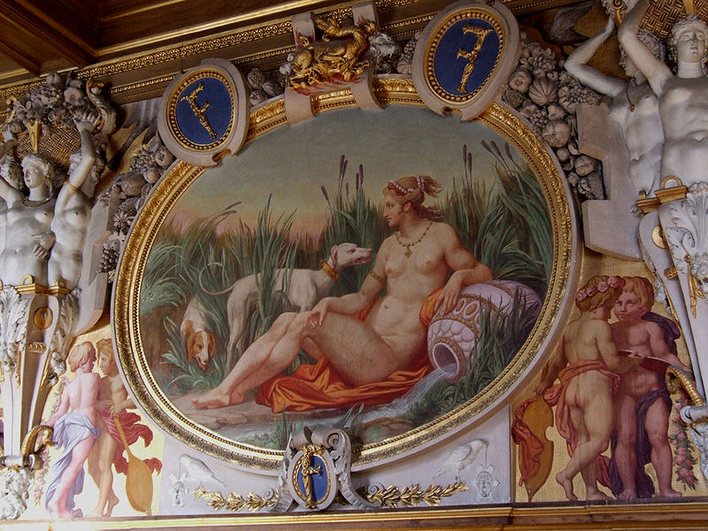 Statues and painting at Palace of Fontainebleau