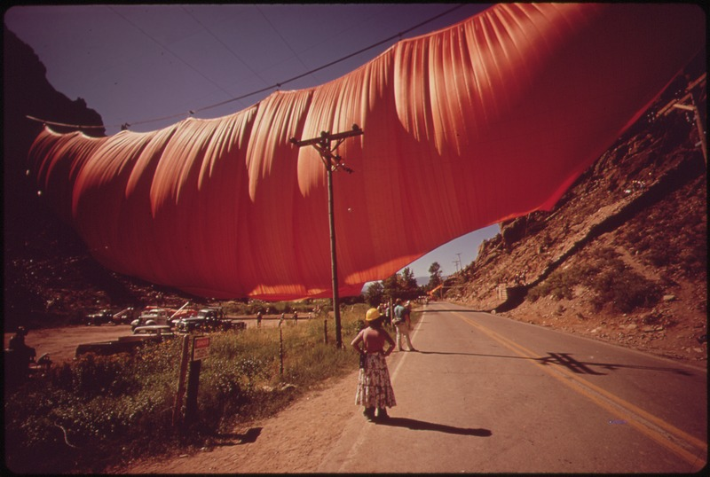 A Six-Ton Curtain Billows Across Rifle Gap by Christo and Jeanne-Claude1972Really big curtain (installation)